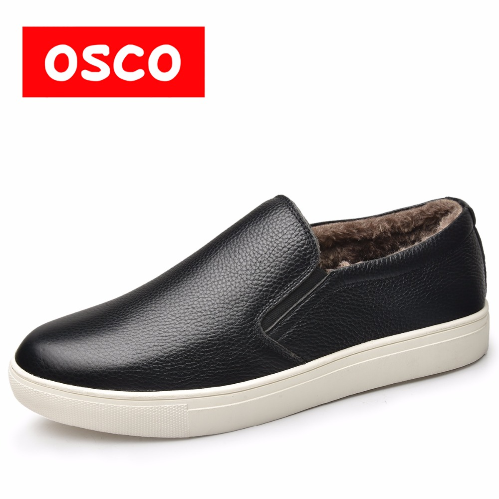 OSCO Men Shoes Genuine Leather Loafers Classic Warm Winter Slip On Flat Shoes Men Fashion Light Comfortable driving shoes