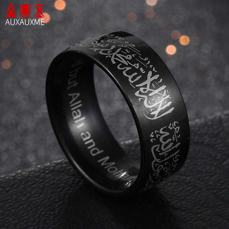 Auxauxme ไทเทเนียม Quran Messager แหวนทองมุสลิมศาสนาอิสลามฮาลาลคำแหวนผู้ชาย True พระเจ้าอัลเลาะห์เครื่องประดับ