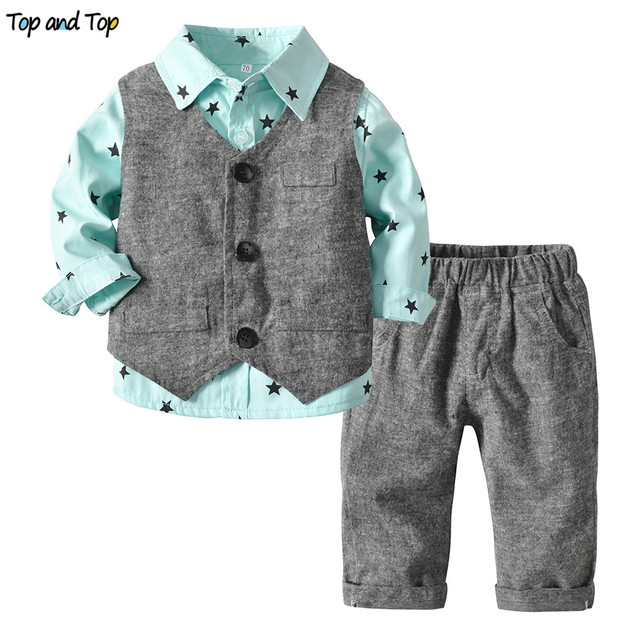 Top and Top Spring Autumn Toddler Boy Gentleman Clothes Set Stars Pattern Shirt+Vest+Trousers 3Pcs Suit Baby Boys Casual Outfits