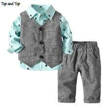 Üst ve Üst Bahar Sonbahar Yürüyor Erkek Beyefendi Giysi Set Yıldız Desen Gömlek + Yelek + Pantolon 3 Adet Takım Elbise bebek Erkek Rahat Kıyafetler