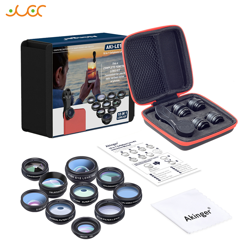 Akinger font b camera b font Lens in mobile phone lens Kit 10in1 Fisheye Wide Angle