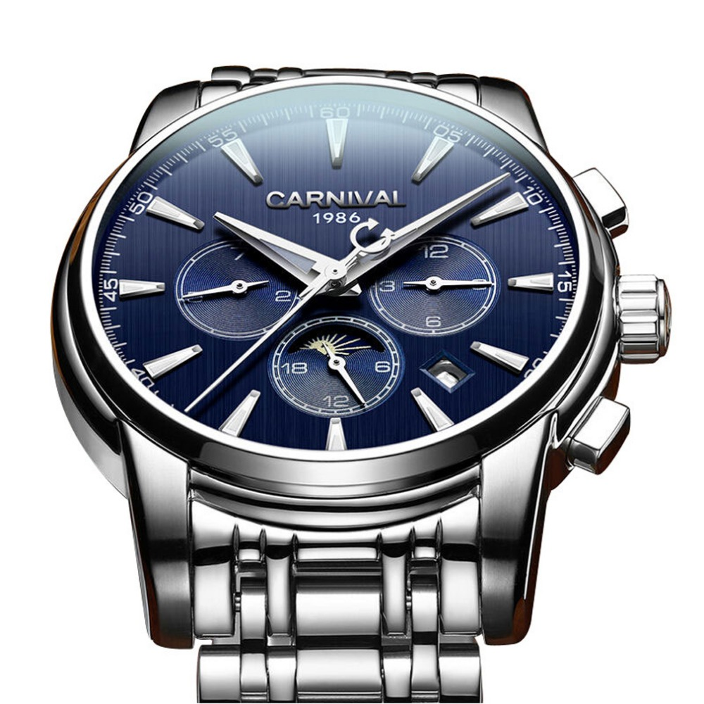 Carnival Mens Multifunction Moon Phase Dial Steel Watchband Automatic Mechanical Watch Wristwatch - silver bezel blue dialCarnival Mens Multifunction Moon Phase Dial Steel Watchband Automatic Mechanical Watch Wristwatch - silver bezel blue dial
