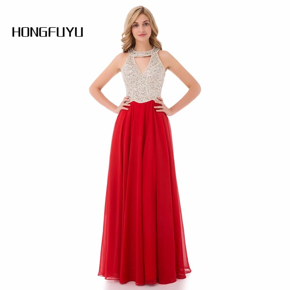 Elegant Red O Neck A Line Chiffon Sleeveless Long Evening Dresses 2019 With Beading Floor Length