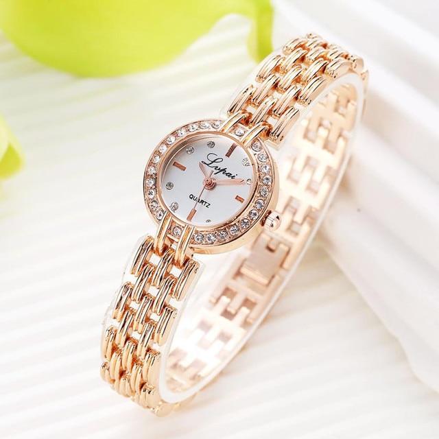 2c0eabb4aa4 LVPAI Luxury Stainless Steel Rhinestone Watches Women Fashion Small Dial Quartz  Wrist Watch Lady Mesh Band