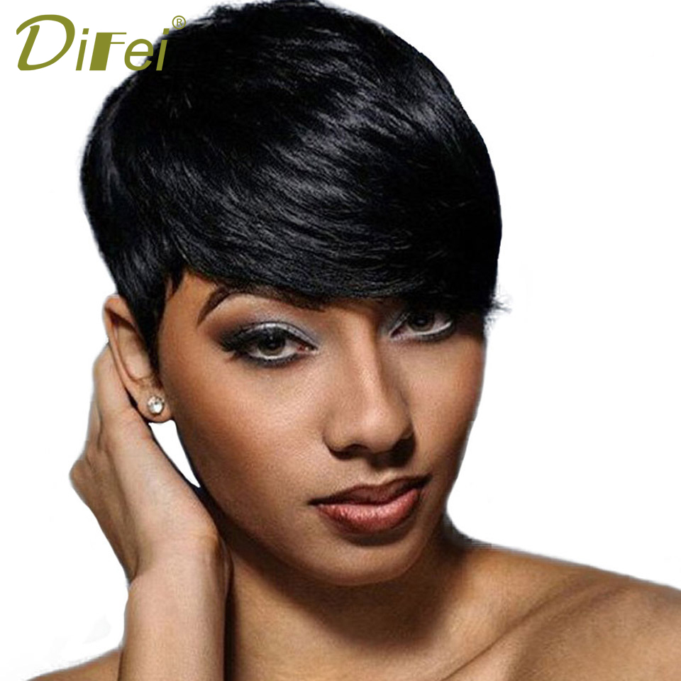 DIFEI Short Straight Hair Black Wig Synthetic Cospaly Wig High Temperature Fiber Wig Halloween Party Wig For Women