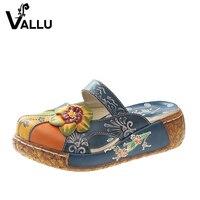 2016 Summer Women Shoes Flat Slides Platform Sandals Genuine Leather Handmade Flower Cover Toes Comfotable Women
