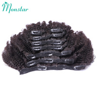 Monstar Brazillian Hair Extension Clip Human Hair 7 Piece 120g/Set 100% Remy Afro Kinky Coily Curly Hair Clip In Free Shipping
