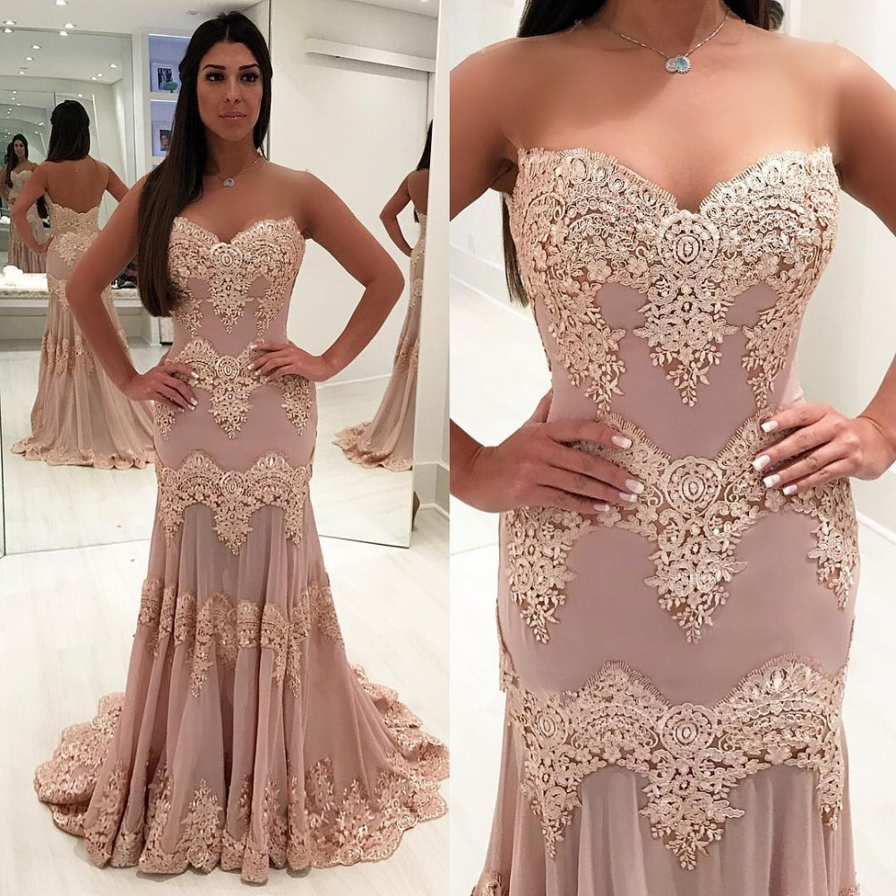 Sexy Long Mermaid Evening Dresses 2019 Floor Length Sweetheart Neck Appliques Formal Prom Gown Sleeveless Robe