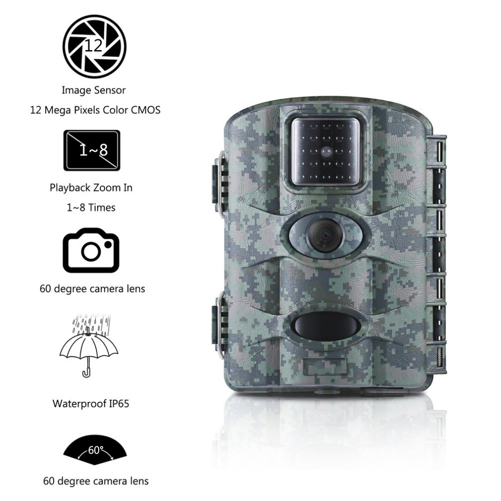 LESHP 12MP Digital Trail Camera Game Hunting Camera With 60 degrees Camera Lens 2.4LCD Screen Scouting Surveillance Camera IP65LESHP 12MP Digital Trail Camera Game Hunting Camera With 60 degrees Camera Lens 2.4LCD Screen Scouting Surveillance Camera IP65