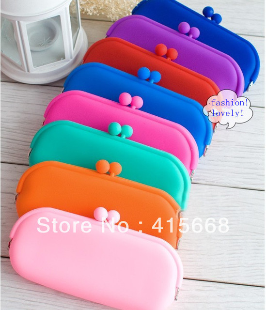 Free Shipping! 200pcs/lot, colorful silicone wallet, glasses case candy color key case women cosmetic bag, coin case