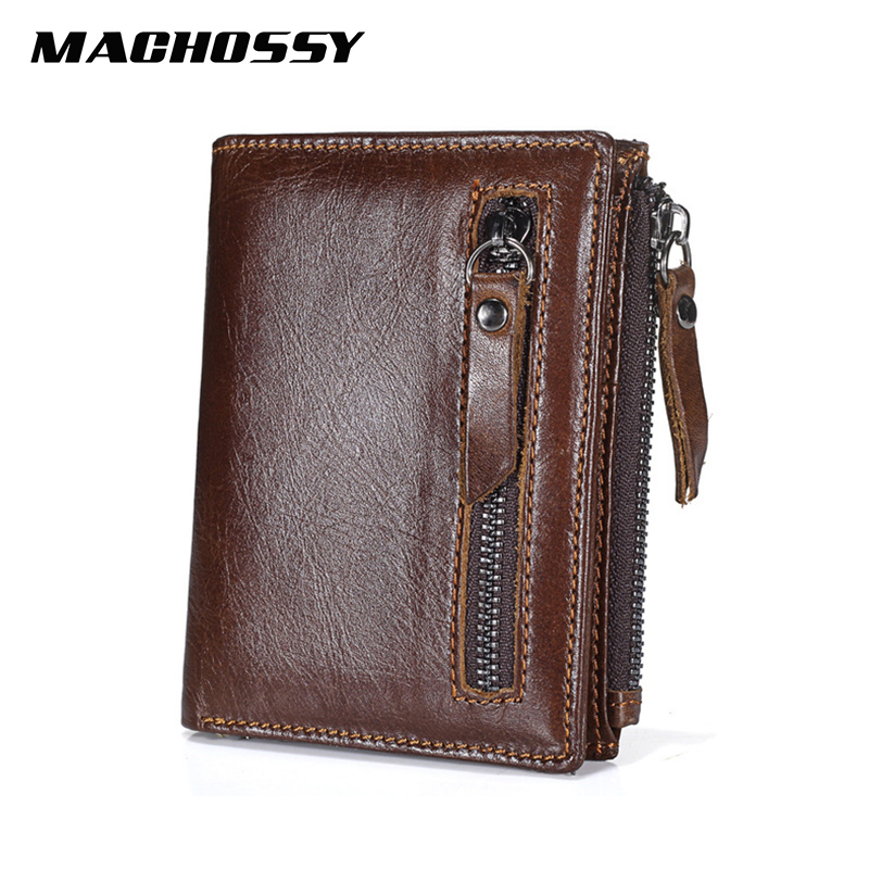 Quality Genuine Leather Men's Wallet Vintage Style Wallets For Men Oil Wax Leather Cash Organizer Zipper Coin Purse Crad Holder