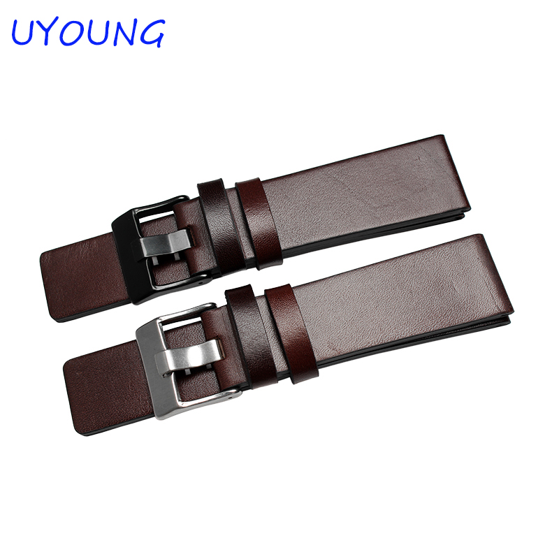 Fashion Genuine Leather Strap Men's Watch band 22mm 24mm 26mm 28mm 30mm Brown Replacement Leather Bracelet eache 20mm 22mm 24mm 26mm genuine leather watch band crazy horse leather strap for p watch hand made with black buckles