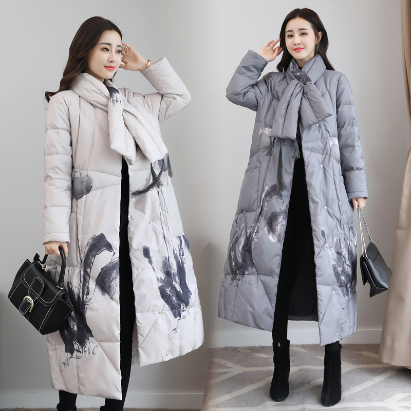 High Quality 2018 Winter Women's Ink And Wash Printing Chinese Style Vintage Long Down Coat