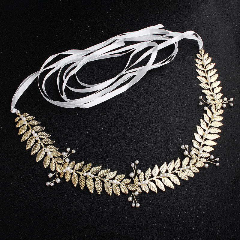 2019 New Arrival Gold Leaves Pearls Alloy Wedding Belts and Sashes Bridal Sash Wedding Dress Accessories for Ladies in Bridal Blets from Weddings Events