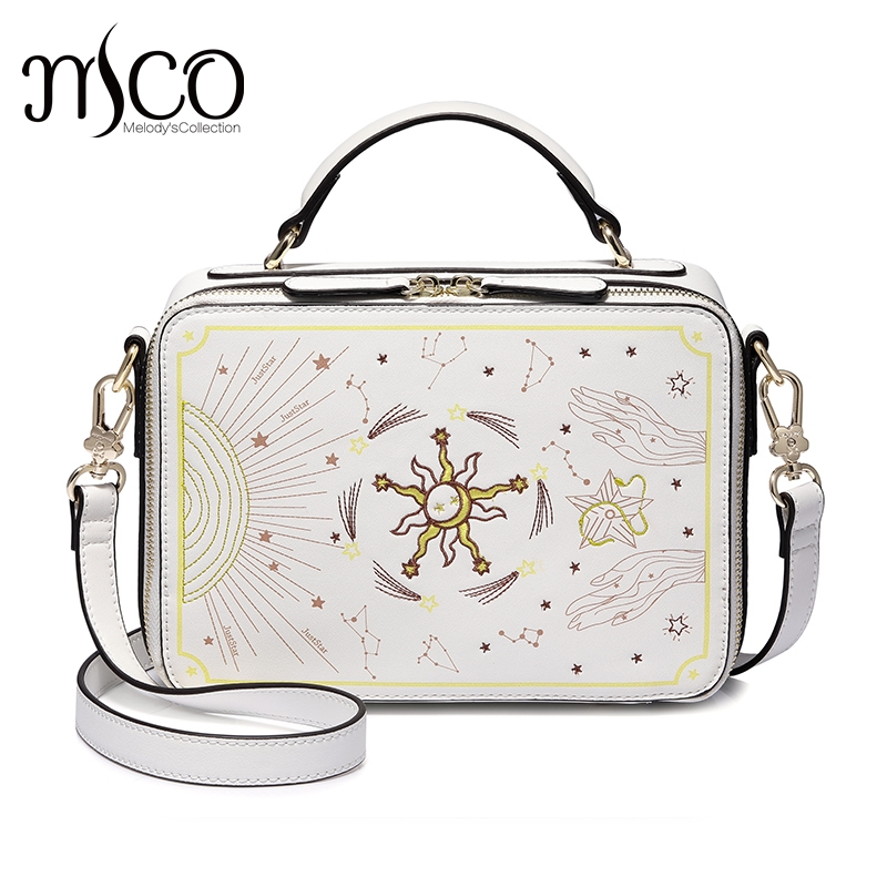 Just star luxury Tarot Embroidery designer handbags women Shoulder bags sac a main femme clutch crossbody a bag bolsas feminina handbags women trapeze bolsas femininas sac lovely monkey pendant star sequins embroidery pearls bags pink black shoulder bag