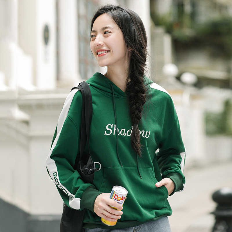 INMAN Spring Autumn Women Long Sleeve Mixed Color With Pocket Pullover Hoodies