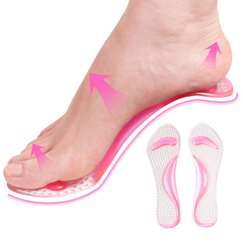 Fashion Women Insoles Silicone Cotton Transparent Orthotic Arch Support Pad High Heeled Shoes Insert Cushion Foot Care Y gel massage arch support insoles orthotic flatfoot prevent foot cocoon high heels shoes pad feet women