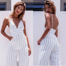 Women Striped Clubwear V Neck Playsuit Bodycon Party Jumpsuit&Romper Trousers knot plunge neck striped romper