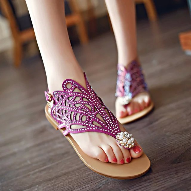 d15a9dafe 2016 New Women s Thong Sandals Flat Shoes Summer Diamond Rhinestone Pearl  Hollow Flip Flops High Quility Lady Sandals