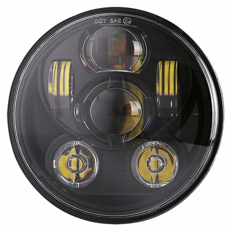 5 3/4 inch Motorcycle Head light Black LED Headlight for