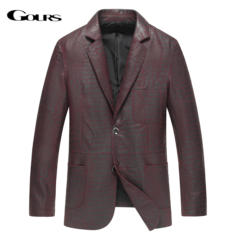 Gours Winter Genuine Leather Jacket for Men Fashion Brand Leather Suit Blazers Black Sheepskin Jackets and Coats New 4XL HS7289
