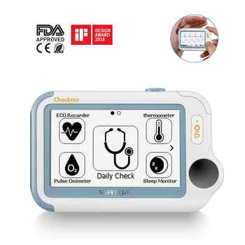 Checkme Pro Sleep Apnea Portable ECG Monitor, Home Use Vital Signs Monitor - FDA Cleared - EKG Holter Monitoring, Heart Rate