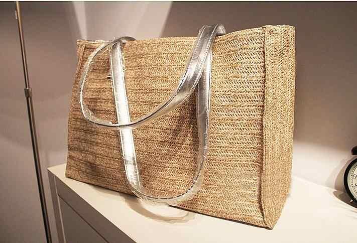 Модная соломенная + искусственная кожа сумки соломенная Летняя Пляжная Сумка-тоут  большая сумка через плечо bdfea7807f5