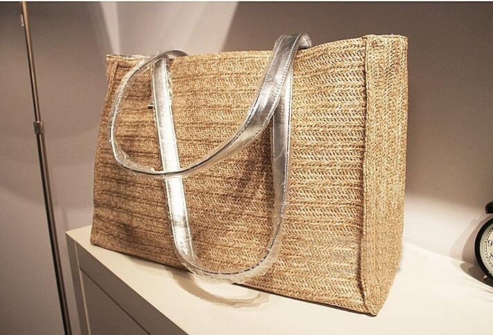 Fashion Straw+pu Handbags Straw Summer Beach Tote Big Shoulder Bag Purse Handbag Straw Beach Bag