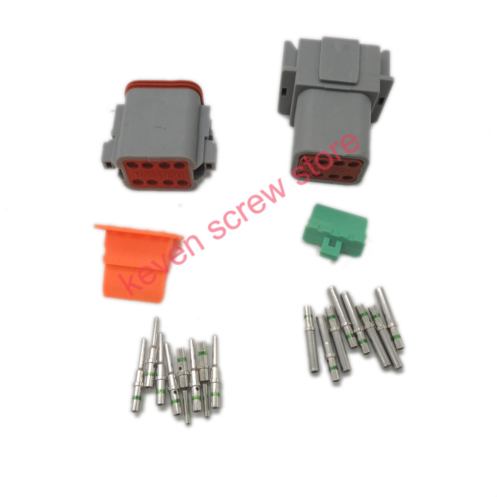 10 sets Kit Deutsch DT 8 Pin Waterproof Electrical Wire Connector plug Kit  DT04-8P DT06-8S,14 GA 50 sets dj3121y 1 6 11 21 deutsch connectors 12 pin dt04 12p dt06 12s automobile waterproof wire electrical connector plug
