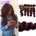 99j Brazilian Loose Wave With Closure  Human Hair Weave Bundles With Closure 99j 4 Bundles Virgin Hair With Closure
