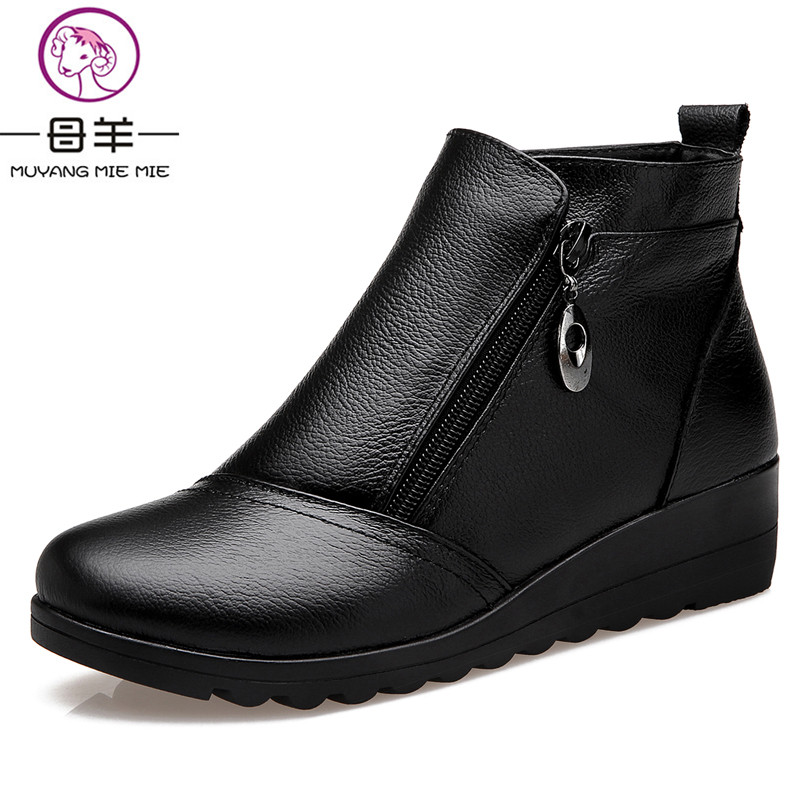 MUYANG MIE MIE Winter Women Shoes Woman Genuine Leather Wedges Snow Boots Velvet Warm Ankle Boots Women Boots muyang mie mie plus size 35 43 winter women shoes woman genuine leather flat ankle boots 2016 fashion snow boots women boots