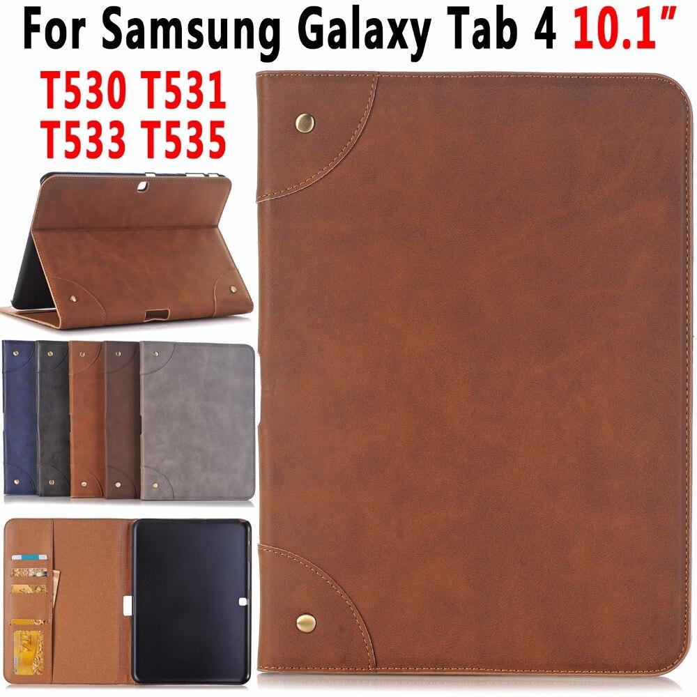 Premuim Rétro En Cuir Cas De Comprimé De Couverture avec le Support de Stand pour Samsung Galaxy Tab 4 10.1 T530 T531 T535 T533 Coque Capa Funda