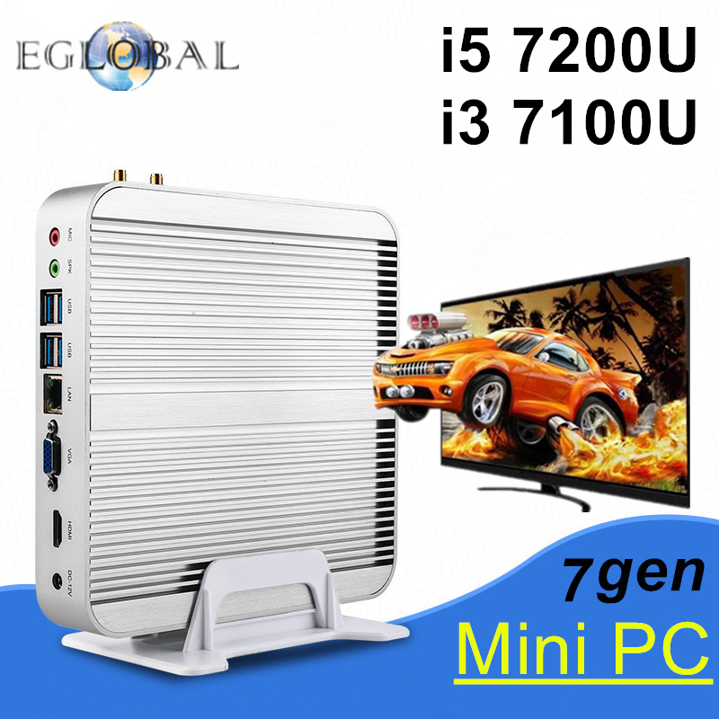Prix pour En Stock! intel core i5 7200u i3 7100u eglobal 7e gen kaby lac win10 sans ventilateur mini pc 4 k htpc fanless nuc intel hd graphics 620