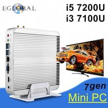 In Stock! Intel Core i5 7200U/i3 7100U Eglobal 7th Gen Kaby Lake Win10 Fanless Mini PC 4K HTPC Fanless Nuc Intel HD Graphics 620