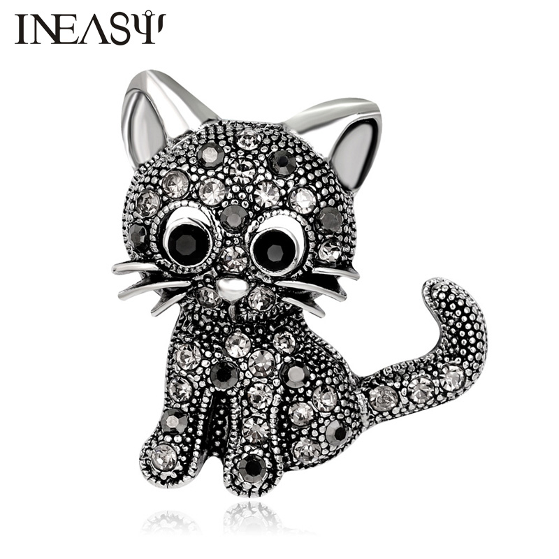 Cute Little Cat Brooches Rhinestone Jewelry Women Suit Hats Clips Retro Style Brooch Black Lovely Cat Pin Accessories Brooches