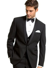 Fashionable One Button Black Groom Tuxedos Groomsmen Men's Wedding Prom Suits Custom Made (Jacket+Pants+Vest+Tie) K:79