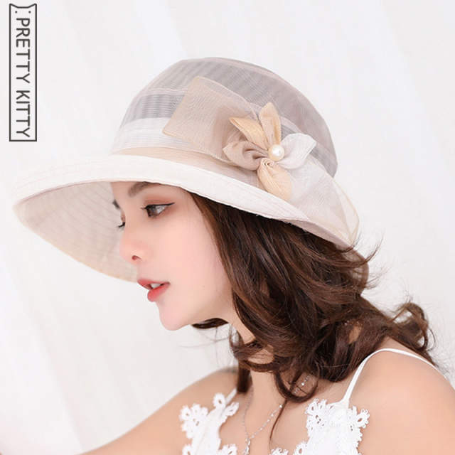 494728ce07c9b Online Shop Fashion Women s Sun Hat Church Hats For Women Flower Hat Summer  Gorras Wedding Kentucky Derby Wide Brim Sea Beach cap