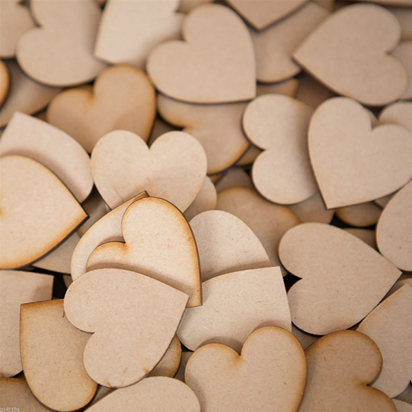 50pcs 60mm Heart Shaped Wooden Slices Unpainted Natural Birch Tree DIY Crafts...