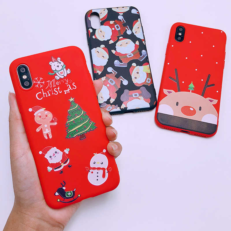 323e87df1384df ... XS Max Merry Christmas Tree Santa Claus Gift Happy New Year Phone Case  Cartoon Silicone for ...