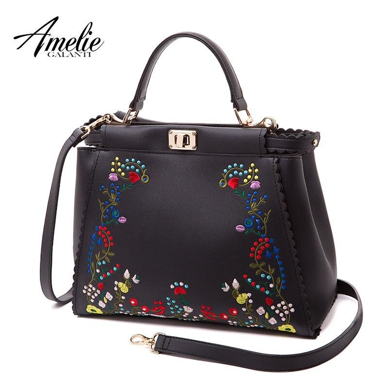 058245b6fcfb AMELIE GALANTI Frame женские сумки модная вышивка искусственная кожа женские  сумки на плечо с застежкой Цветочные