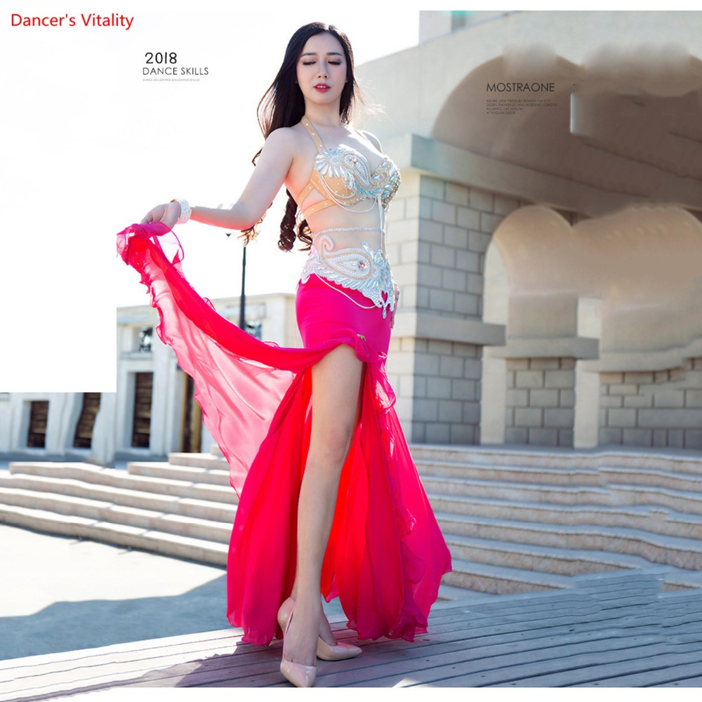 New High Quality Luxury Belly Dance Costume Dresses Sexy Bra+Belt+Skirt 3pcs Stage Performance Suits Outfits Clothes