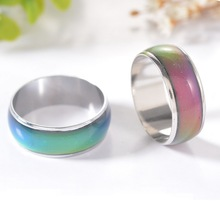 2016 Silver Color Changing Mood Rings Temperature Emotion Feeling Rings For Women/Men HOT Hobbit Fine Jewelry 1Pieces 0.6cm Wide