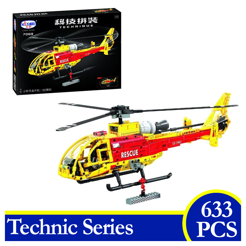 7063 633PCS Technic Series Helicopter Building Blocks Bricks Educational Children Gifts Compatible With Lepin city series helicopter surveillance building blocks policeman models toys children boy gifts compatible with legoeinglys 26017