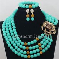Encantos de Aqua Verde Nigeriano Boda Africana Coral Beads Necklace Set 4 Capas Con Cuentas Joyería de Moda Set Envío Libre CNR366