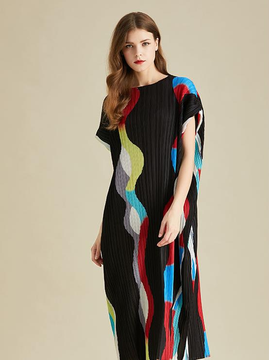 Miyake tamanho grande colorido correspondência de cores solto vestido manga curta vestidos plissados frete grátis lanxin