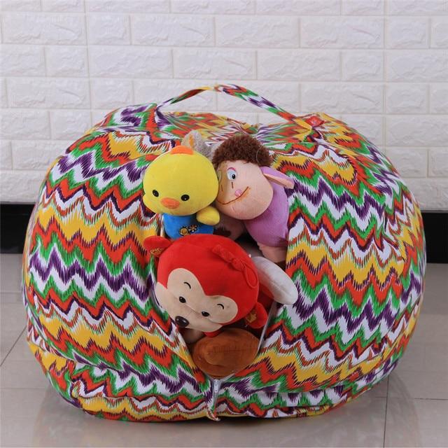 Stuffed Animal Chair And Half Glider Rocker New Kids Plush Toy Storage Bean Bag Soft Pouch Stripe Fabric Wholesale Free