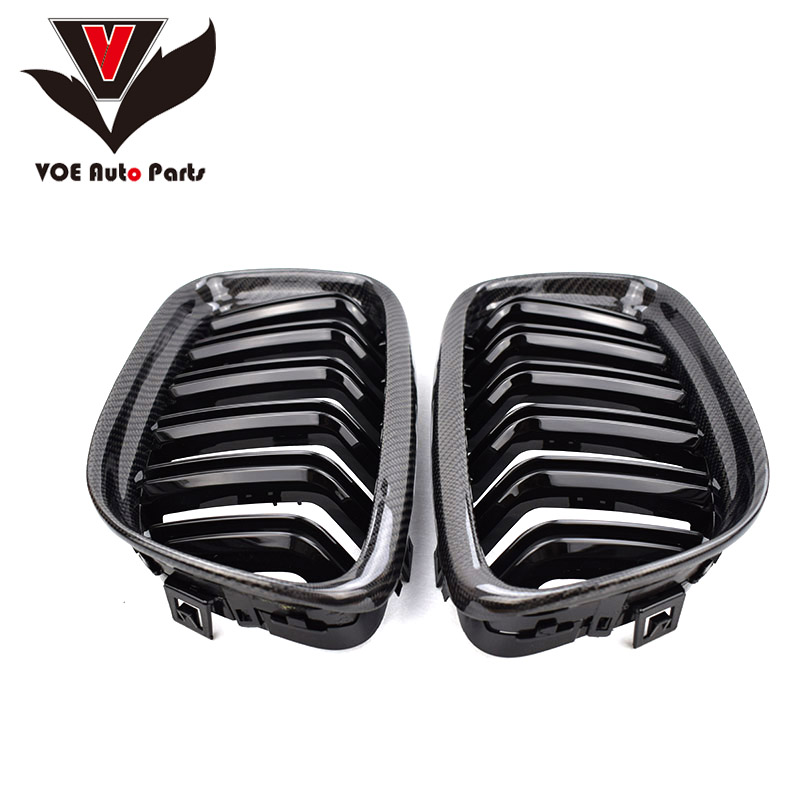 2009-2012 E90 Gloss Black Carbon Fiber M3 Style 2-Line Racing Grill Grille for BMW E90 3 Series(not fit for E90 M3) цены