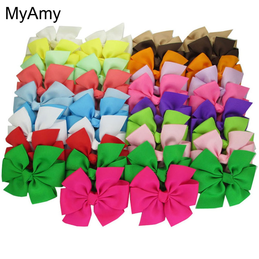 MyAmy Free Shipping 40pcs/lot 4.5'' grosgrain ribbon boutique hair bows WITH alligator hair clips for baby girls teens children 10 inches huge big bow clip boutique hair bows for teens girls kids children women alligator hair clips grosgrain ribbon bows