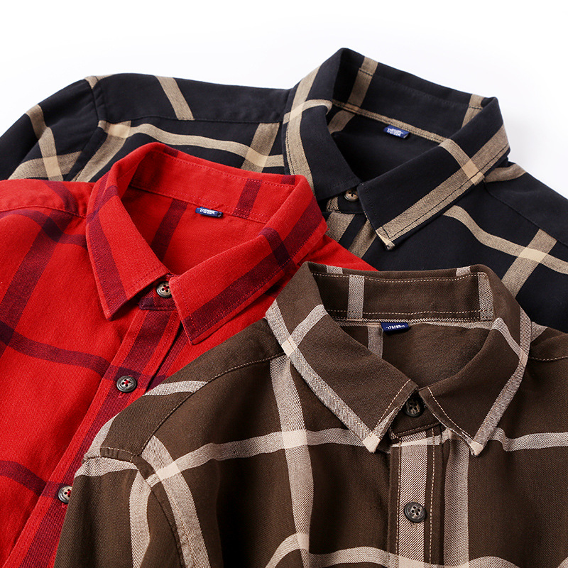 Spring Wholesale Casual Flannel Shirts Single Breasted long sleeve Full thick shirts Men's plaid high quality size M-2XL3XL 2