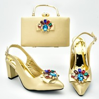 2.7 low heel lady sandal shoes with clutches bag with big colorful stones in gold color italian shoes and bag for party SB8377 5